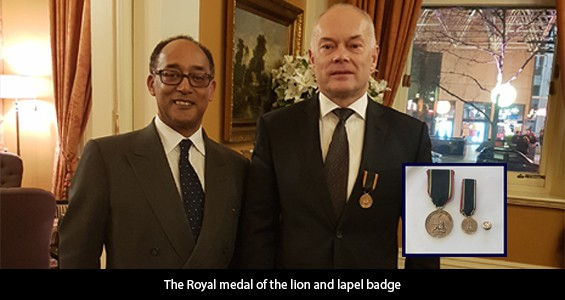 Kim Lovegrove RML, FAIB awarded Humanitarian Honour for humanitarian services to Ethiopia by Prince Ermias Sahle Selassie